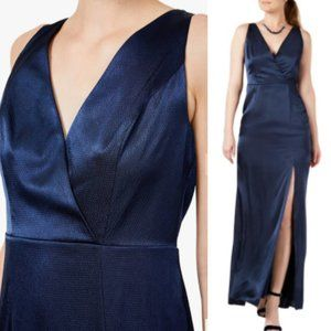 New ADRIANNA PAPELL Navy satin Party Long Gown